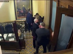Security video shows Vice President Mike Pence being evacuated as rioters breach the Capitol (Senate Television/AP)