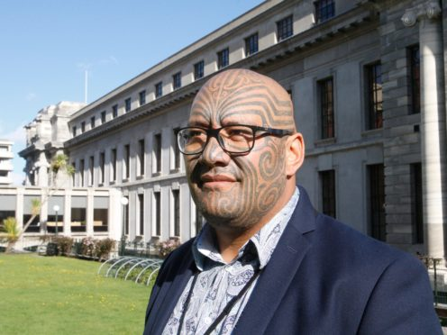 Maori Party co-leader Rawiri Waititi outside New Zealand's parliament in Wellington (Nick Perry/AP)