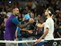 Nick Kyrgios warmly congratulated Dominic Thiem (Hamish Blair/AP)