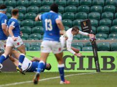 Jonny May scores his extraordinary try against Italy (David Davies/PA)