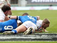 Jack Willis scores England's fifth try against Italy. Shortly after he was injured (David Davies/PA)