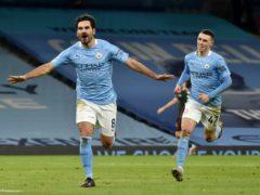 Ilkay Gundogan scored twice as Manchester City won a 16th straight game (Rui Vieira/PA)