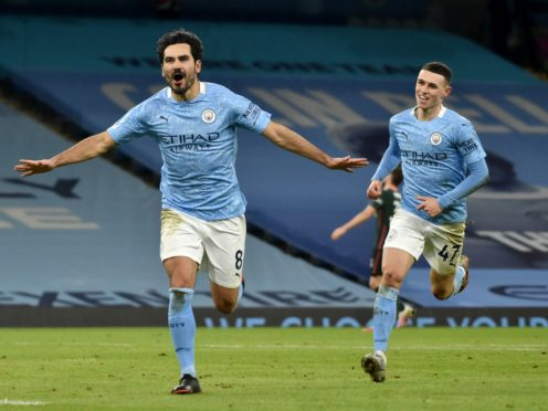 Ilkay Gundogan scored twice as Manchester City won a 16th straight game (Rui Vieira/PA)