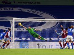 Aston Villa goalkeeper Emiliano Martinez was in inspired form at Brighton (Neil Hall/PA)