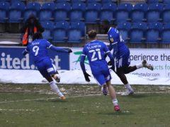 Frank Nouble, right, scored a late equaliser for Colchester (Gareth Fuller/PA)