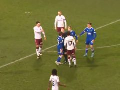 Screengrab taken from Sky Sports of referee Darren Drysdale's apparent confrontation with Ipswich midfielder Alan Judge (Sky Sports)