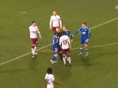 Screengrab taken from Sky Sports of referee Darren Drysdale who was involved in a confrontation with Ipswich midfielder Alan Judge (Sky Sports)