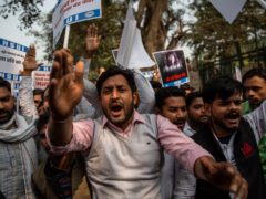 Student protesters condemn the arrest of Indian climate activist Disha Ravi in New Delhi (Altaf Qadri)
