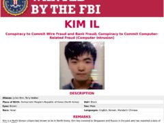A wanted poster released by the US Department of Justice (Department of Justice via AP)