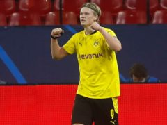 Dortmund's Erling Haaland struck twice in a 3-2 win over Sevilla in the Champions League (Angel Fernandez/AP)