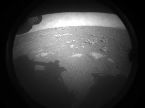 The first image Nasa's Perseverance rover sent back after touching down on Mars (Nasa/JPL-Caltech)