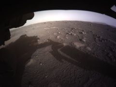 An image of the first high-resolution, colour image to be sent back by the rover (Nasa/JPL-Caltech/PA)