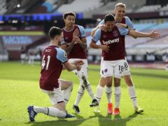 West Ham celebrate a goal in unique fashion (Kirsty Wrigglesworth/PA)