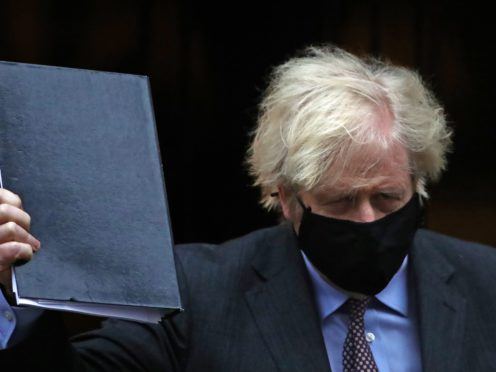 Prime Minister Boris Johnson leaving 10 Downing Street to give his speech to Parliament where he will set out the road map for easing coronavirus restrictions across England (Aaron Chown/PA)