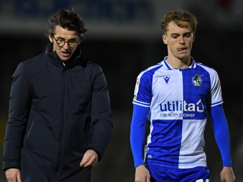 Joey Barton, left, lost his first game as Bristol Rovers boss (Simon Galloway/PA)