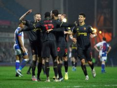 Watford's Ken Sema celebrates scoring their side's third goal of the game during the Sky Bet Championship match at Ewood Park, Blackburn. Picture date: Wednesday February 24, 2021.