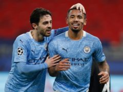 Bernardo Silva, left, and Gabriel Jesus fired Manchester City to victory over Borussia Monchengladbach (Laszlo Balogh/AP)