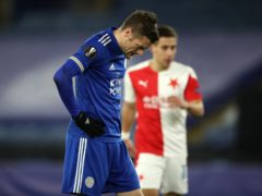 Jamie Vardy was left dejected as Leicester were knocked out of the Europa League (Nick Potts/PA)
