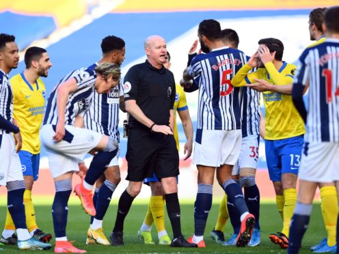 Referee Lee Mason was criticised for his decision to eventually disallow Brighton's goal (Clive Mason/PA)