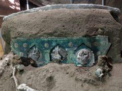 A chariot that was found in Civita Giuliana, north of Pompeii (Parco Archeologico di Pompei via AP)
