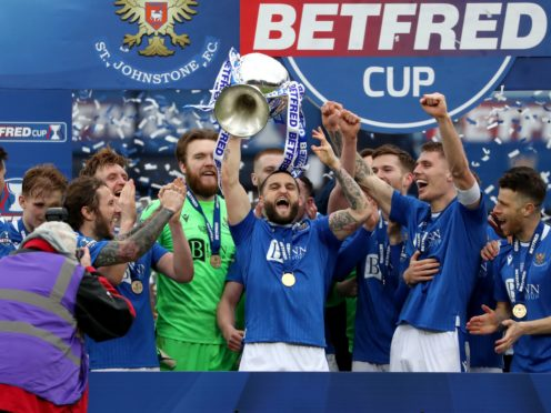 St Johnstone's Craig Conway (centre) celebrates with the Betfred Cup (Andrew Milligan/PA)