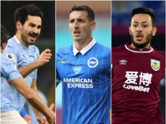 Ilkay Gundogan, left, and Dwight McNeil, right play twice in gameweek 24 while Lewis Dunk is another strong option (Clive Brunskill/Nick Potts/Rui Vieira/PA)