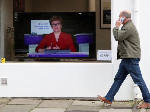 Tories criticised Nicola Sturgeon for leaving a four nations call to take part in her coronavirus briefing (Andrew Milligan/PA)