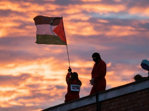 Palestine Action protest at UAV Engines' Shenstone plant, Staffordshire (Vladimir Morozov/Palestine Action/PA)