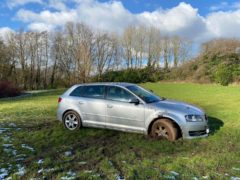 A lockdown driver left stuck in the mud after travelling 25 miles to 'feed the ducks' has been fined £200 (West Mercia Police/PA)