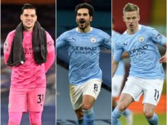 Ederson, Ilkay Gundogan and Oleksandr Zinchenko, l-r, remain strong FPL picks (Michael Regan/Rui Vieira/Tim Keeton/PA)