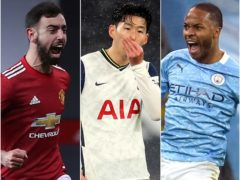 Bruno Fernandes, Son Heung-min and Raheem Sterling, l-r, will be hoping to be among the goals in the Premier League this weekend (Martin Rickett/PA/Catherine Ivill/PA/Dave Thompson/PA)