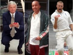 Richie Benaud, Lou Bega and Andrew Flintoff all starred when Test cricket was last on terrestrial television (Michael Walter/Gill Dennis/Sean Dempsey/PA)