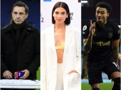 Gary Neville, Dua Lipa and Jesse Lingard (Nick Potts/Ian West/Shaun Botterill/PA)