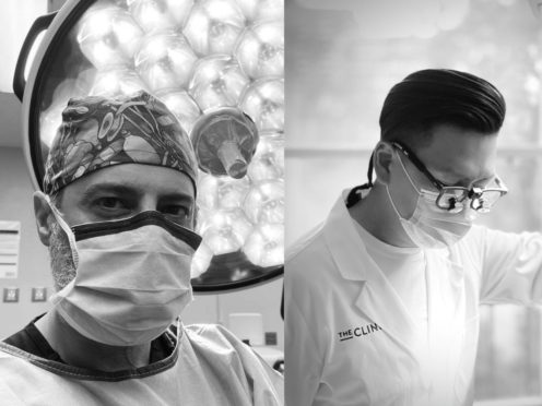 Dr Minas Chrysopoulo, plastic surgeon at the PRMA centre in Texas, left, and Dr Julian Liew, consultant plastic surgeon working in Melbourne, Australia (Don't Mask The Light/PA)