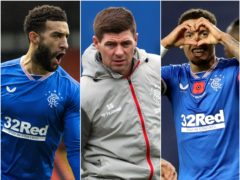 Steven Gerrard, centre, has led Rangers to the title with defenders Connor Goldson, left, and James Tavernier playing key roles (Alan Harvey/Andrew Milligan/Jane Barlow/PA)