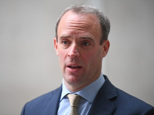 Foreign Secretary Dominic Raab speaks to the media outside BBC Broadcasting House in central London after his appearance on the BBC1 current affairs programme, The Andrew Marr Show (Victoria Jones/PA)