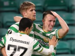David Turnbull, right, believes his strike at Lille was the turning point for his stalling Celtic career (Jane Barlow/PA)