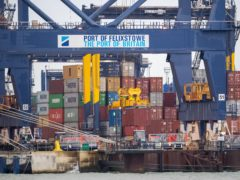 The Port of Felixstowe in Suffolk is one of the areas to benefit from the Budget freeport announcement (Joe Giddens/PA)