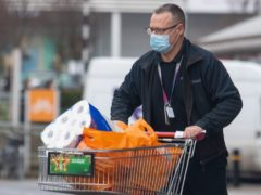 Supermarket sales in March fell compared with a year ago (Dominic Lipinski/PA)