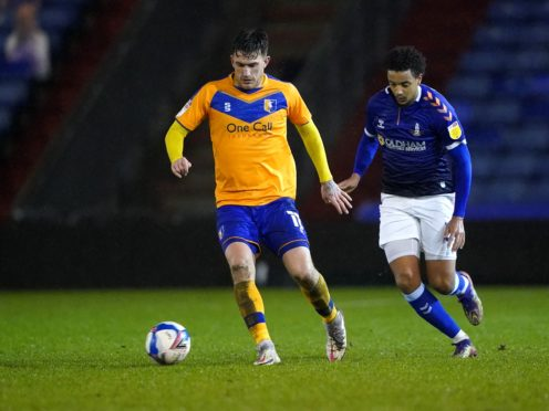 Andy Cook (left) is on loan at Bradford from Mansfield (Zac Goodwin/PA).