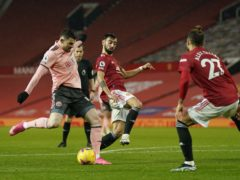 Oliver Burke scored the winner when Sheffield United won 2-1 at Manchester United in January (Tim Keeton/PA).