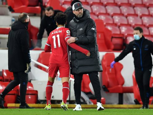 Liverpool manager Jurgen Klopp insists there is no reason to speak to Mohamed Salah about his reaction to being substituted (Paul Ellis/PA)