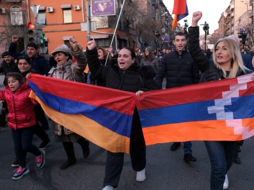 Protesters have been demanding the resignation of Armenian Prime Minister Nikol Pashinyan (Hrant Khachatryan/PAN Photo via AP)