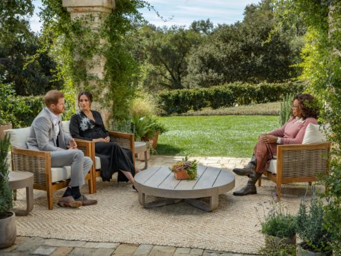 The Duke and Duchess of Sussex during their interview with Oprah Winfrey (Harpo Productions/Joe Pugliese/PA)