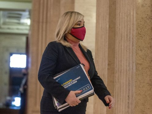 Deputy First Minister Michelle O'Neill in the Great Hall at Stormont before a meeting with the Assembly (Liam McBurney/PA)