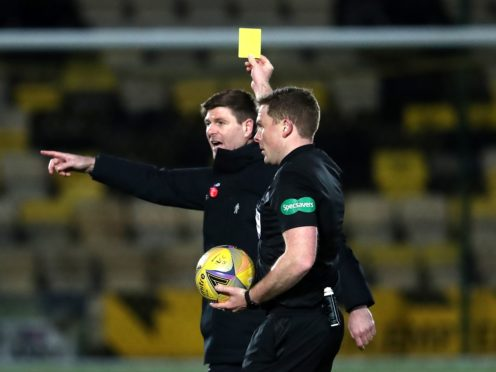 Rangers manager Steven Gerrard is shown a yellow card (Andrew Milligan/PA)
