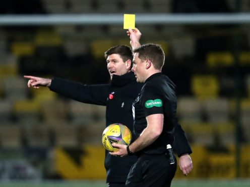 Steven Gerrard was shown two yellow cards at half-time at Livingston (Andrew Milligan/PA)