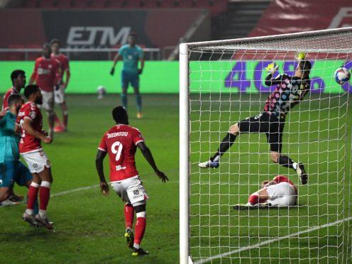 Bristol City goalkeeper Daniel Bentley, right, scored an own goal against Bournemouth (Simon Galloway/PA)
