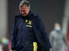 Michael O'Neill was unhappy as Stoke lost to a late penalty against Swansea (Nick Potts/PA)