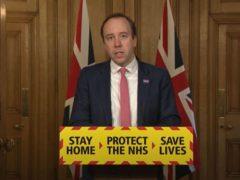 Health Secretary Matt Hancock during a media briefing in Downing Street, London, on coronavirus (PA)